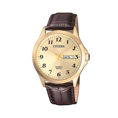 Citizen G Gold Dial Leather Band Watch - O'Kellys Jewellers Bray