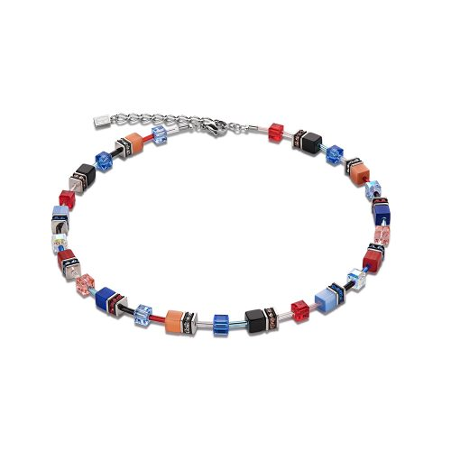Coeur de Lion Geocube Blue and Red Necklet - O'Kellys Jewellers Bray