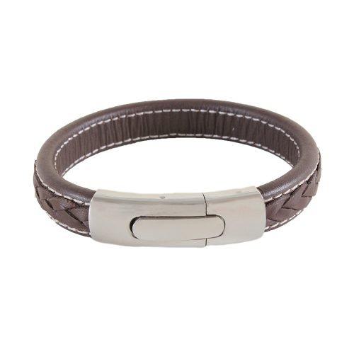 Wide Brown Braided Leather Bracelet - O'Kellys Jewellers Bray
