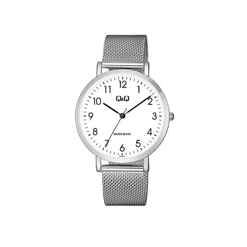 Q & Q Gents Chrome Mesh Bracelet Watch With White Face - O'Kellys Jewellers Bray