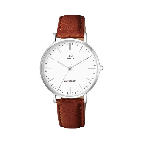 Q & Q Gents Chrome Mid Brown Strap Watch With White Face - O'Kellys Jewellers Bray