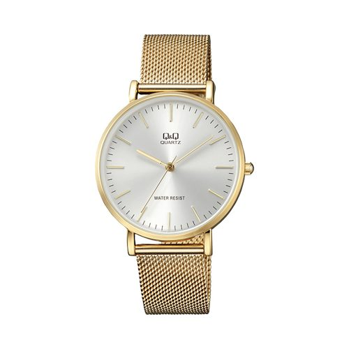 Q & Q Gents Gold Plated Mesh Bracelet Watch With White Face - O'Kellys Jewellers Bray