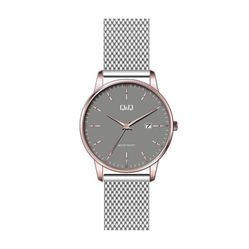 Q & Q Gents Grey Mesh Bracelet Calendar Watch With Rose Bezel - O'Kellys Jewellers Bray