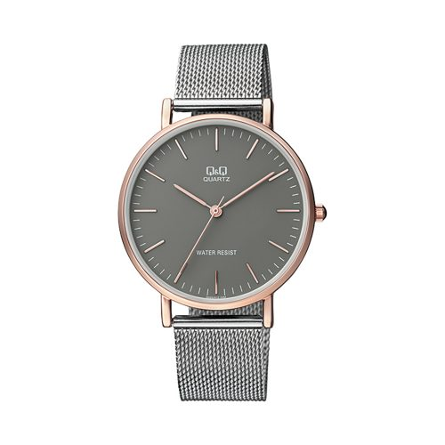 Q & Q Gents Rose Gold Watch With Light Grey Mesh Bracelet - O'Kellys Jewellers Bray