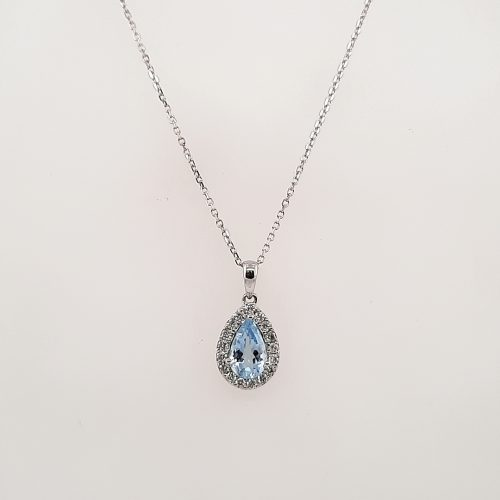 18ct White Gold Aquamarine and Diamond Pendant - O'Kellys Jewellers Bray