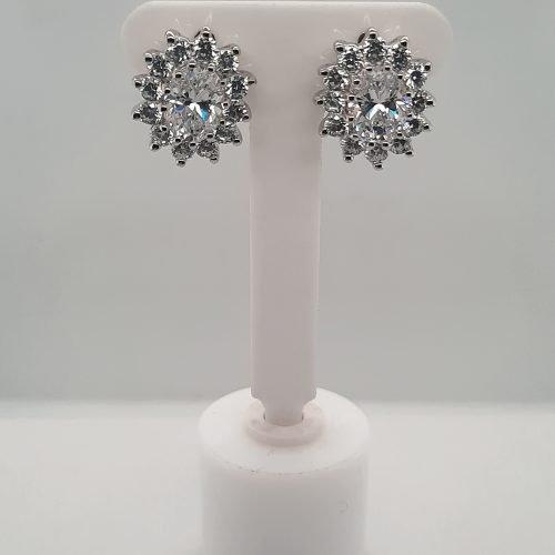 Sterling Silver Cubic Zirconia Cluster Earrings - O'Kellys Jewellers Bray