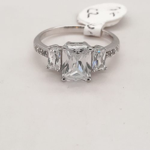 Dress Ring 9ct White Gold 3 Stone Cubic Zirconia Ring with Shoulder Stones - O'Kellys Jewellers Bray