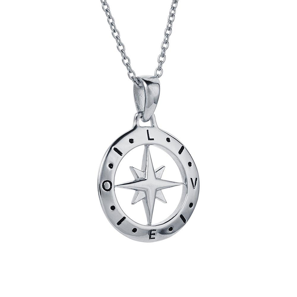 Love's Compass Silver Necklace - O'Kellys Jewellers Bray
