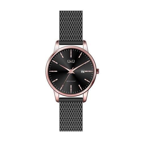 Q & Q Ladies Black And Rose Plate Mesh Bracelet Watch - O'Kellys Jewellers Bray