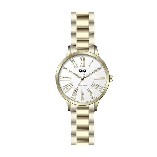 Q & Q Ladies Gold Plated Roman Numeral Bracelet Watch - O'Kellys Jewellers Bray