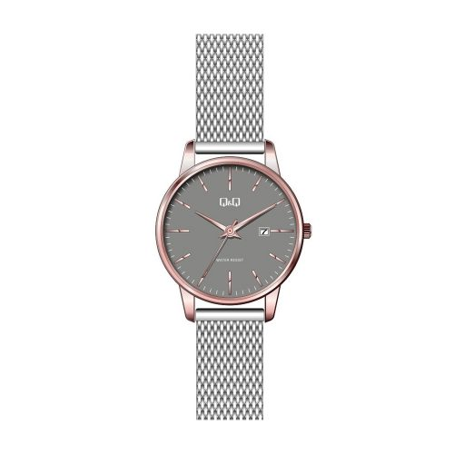 Q & Q Ladies Light Grey And Rose Plate Mesh Bracelet Watch - O'Kellys Jewellers Bray