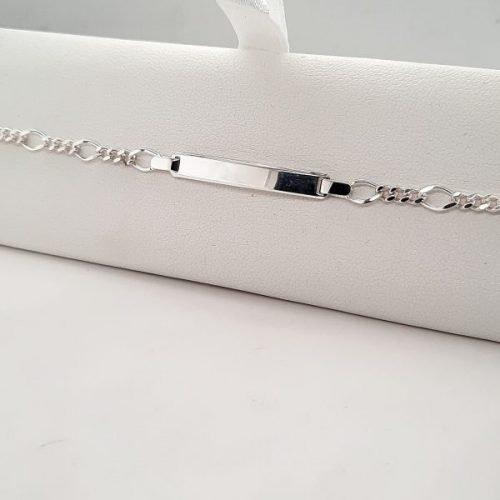 Silver Figaro Link Engravable Bracelet - O'Kellys Jewellers Bray