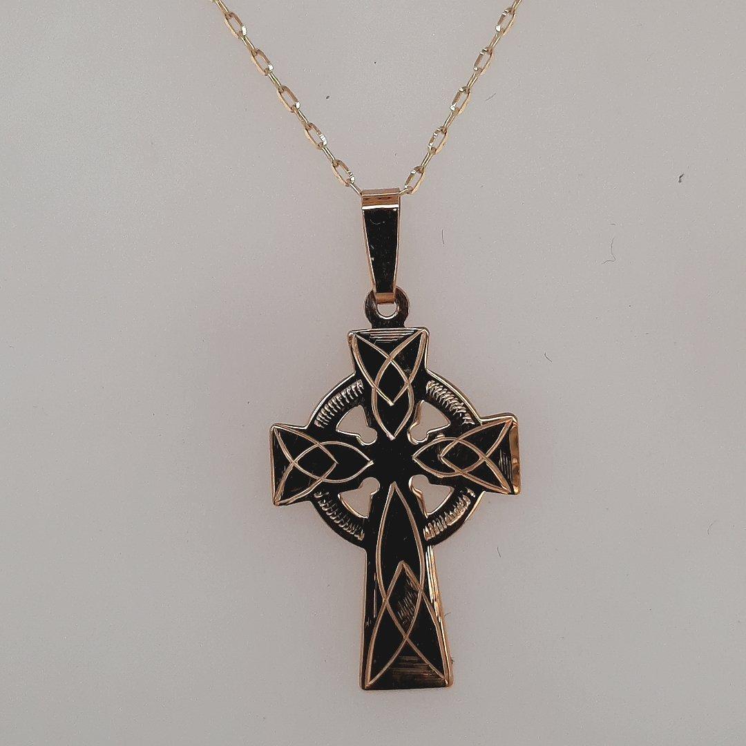 9ct Yellow Gold Celtic Cross - O'Kellys Jewellers Bray