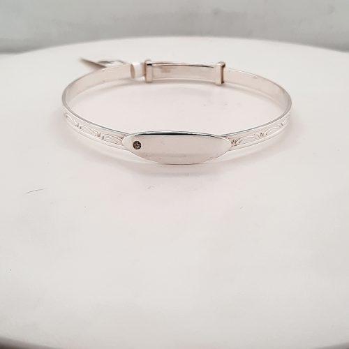 Silver Baby Bangle With Clear Stone - O'Kellys Jewellers Bray