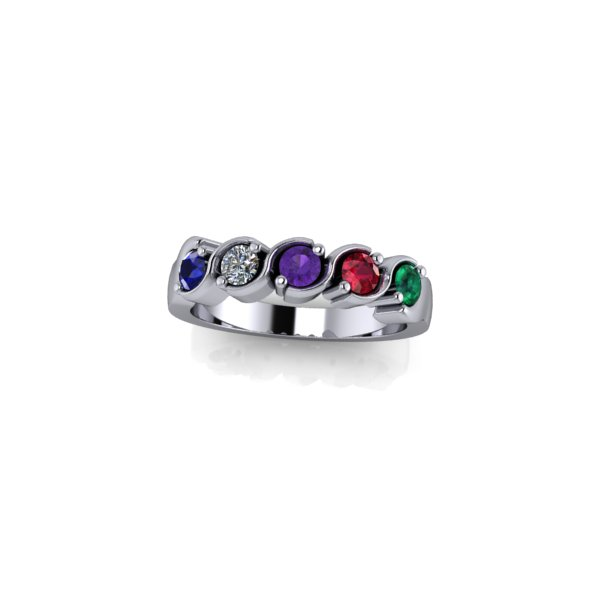 5 Birthstone Silver Ring Made To Order