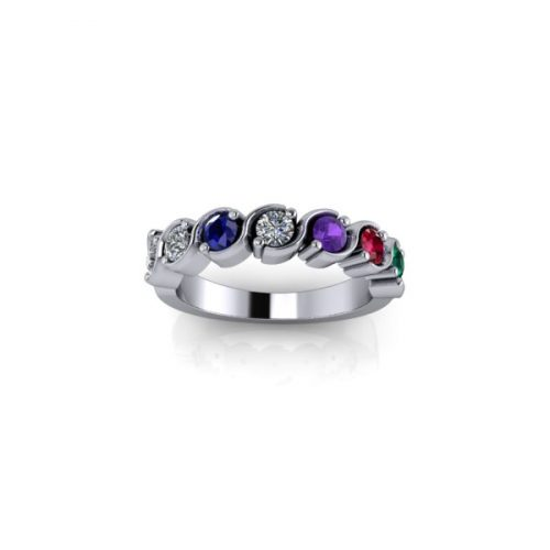 7 Birthstone Silver Ring Made To Order