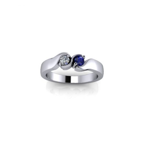 2 Birthstone 9ct White Gold Ring - O'Kellys Jewellers Bray