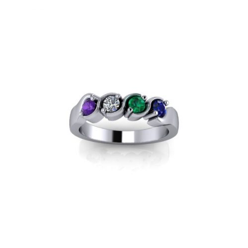 4 Birthstone Silver Ring - O'Kellys Jewellers Bray