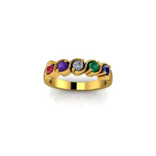 5 Birthstone 9ct Gold Ring - O'Kellys Jewellers Bray