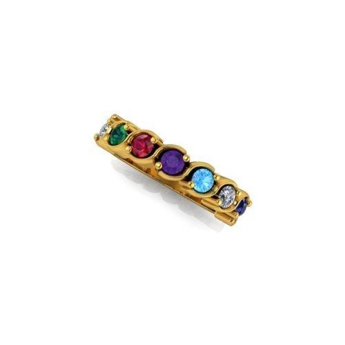 7 Birthstone 9ct Gold Ring - O'Kellys Jewellers Bray